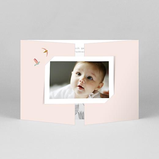 Geburtskarten Paradiesvogel (duo querformat) rosa - Ansicht 1
