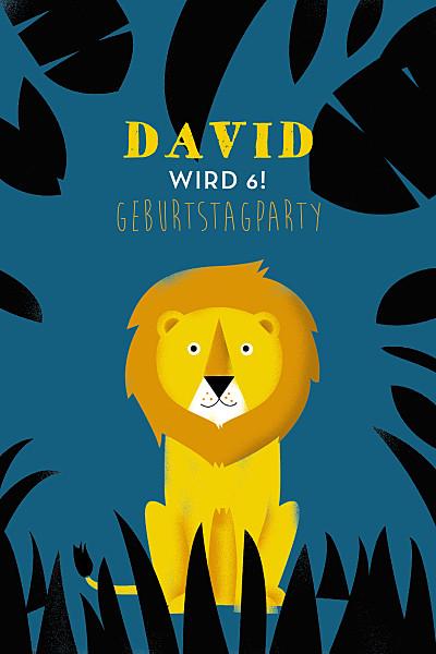 Geburtstagskarten Kinder Safari blau und gelb finition