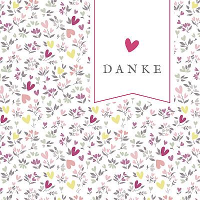 Dankeskarten Liberty herz rosa finition