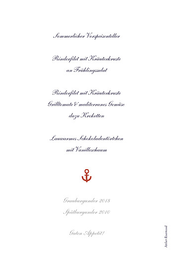 Menükarten Taufe Seemann rot - Seite 2