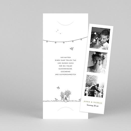 Dankeskarten Hochzeit Sommerhochzeit (fotostreifen) weiß - Ansicht 1
