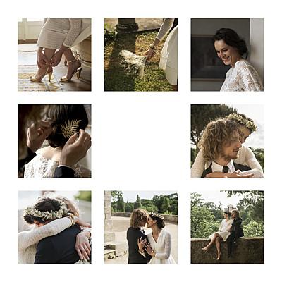 Dankeskarten Hochzeit Erinnerung 8 fotos (gold) weiß finition