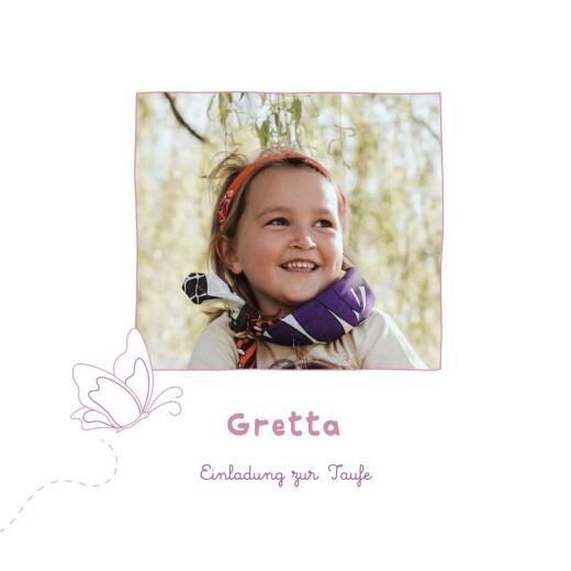 Taufeinladungen Schmetterling foto rosa