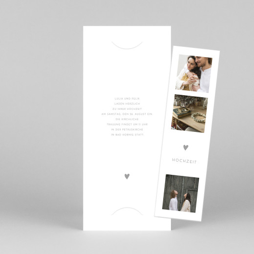 Hochzeitseinladungen Elegant herz (fotostreifen) weiß - Ansicht 1