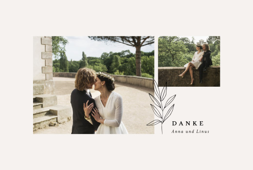 Dankeskarten Hochzeit Zarter ast beige