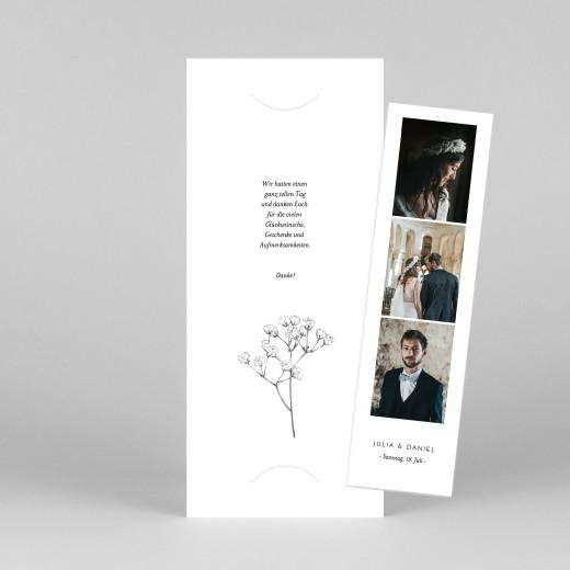 Dankeskarten Hochzeit Botanik (fotostreifen) weiß - Ansicht 1