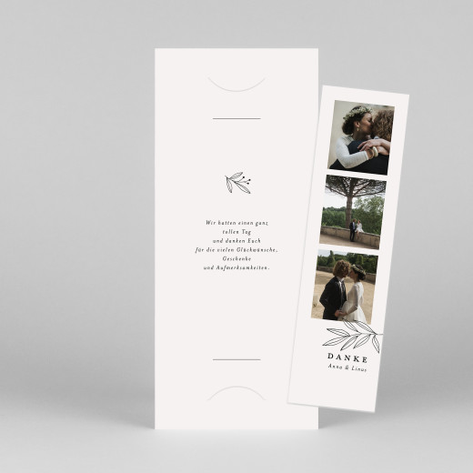 Dankeskarten Hochzeit Zarter ast (fotostreifen) beige - Ansicht 1