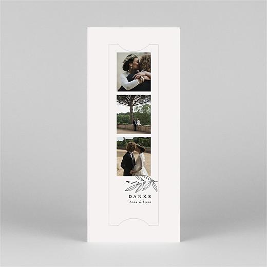 Dankeskarten Hochzeit Zarter ast (fotostreifen) beige - Ansicht 2