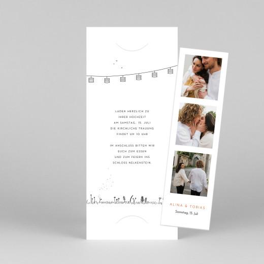 Hochzeitseinladungen Feldhochzeit (fotostreifen) weiß - Ansicht 1