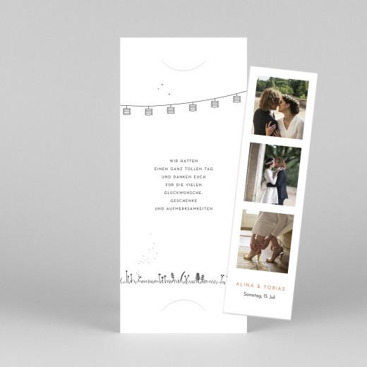 Dankeskarten Hochzeit Feldhochzeit (fotostreifen) weiß - Ansicht 1
