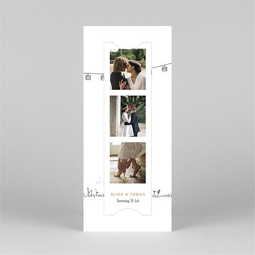 Dankeskarten Hochzeit Feldhochzeit (fotostreifen) weiß - Ansicht 2