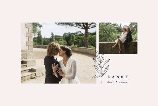 Dankeskarten Hochzeit Zarter ast 1 foto beige