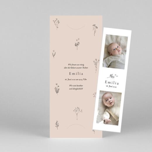 Geburtskarten Floral minimal (fotostreifen) rosa - Ansicht 1