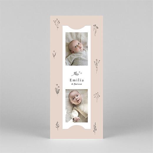 Geburtskarten Floral minimal (fotostreifen) rosa - Ansicht 2