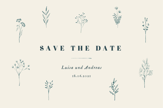 Save-the-Date Karten Floral minimal beige