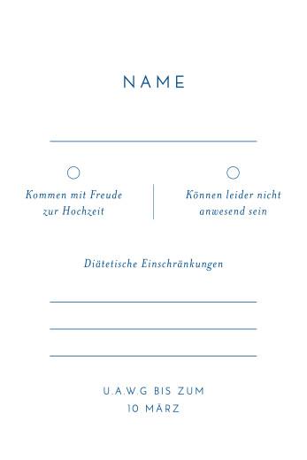Antwortkarte Hochzeit Kalligraphie hoch blau