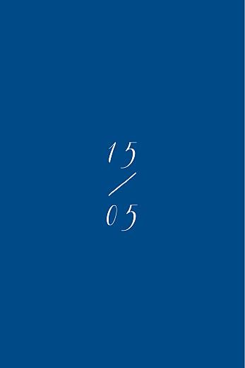 Antwortkarte Hochzeit Kalligraphie hoch blau - Seite 2