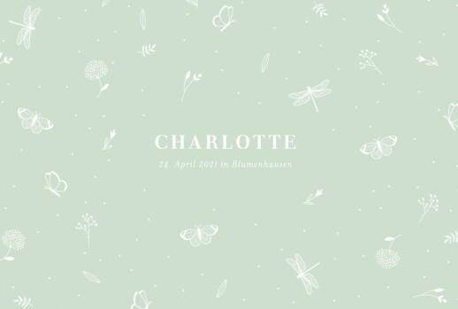 Geburtskarten Eleganter schmetterling grün