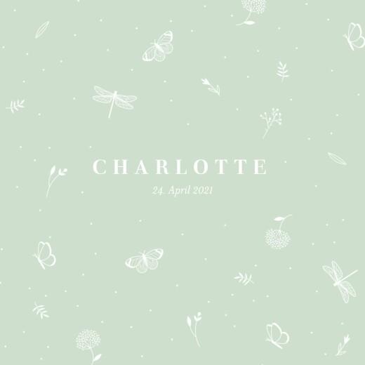 Geburtskarten Eleganter schmetterling klappkarte grün