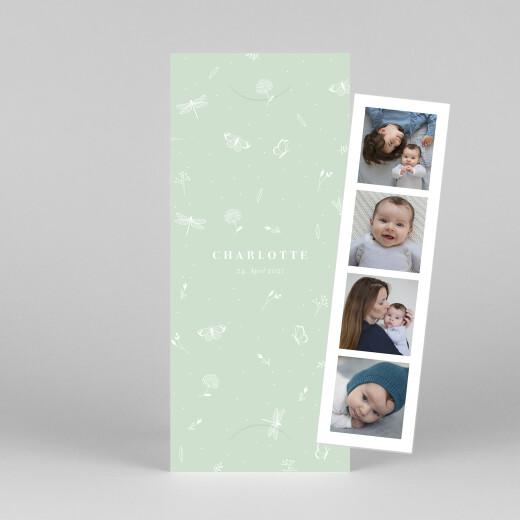 Geburtskarten Eleganter schmetterling (fotostreifen) grün - Ansicht 1
