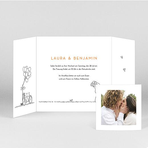 Hochzeitseinladungen Feldhochzeit (duo) weiß - Ansicht 2
