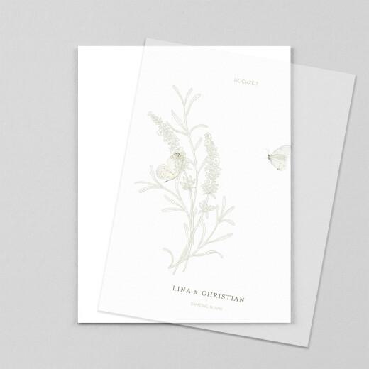 Hochzeitseinladungen Pflanzenwelt hoch (transparentpapier) grün - Ansicht 1