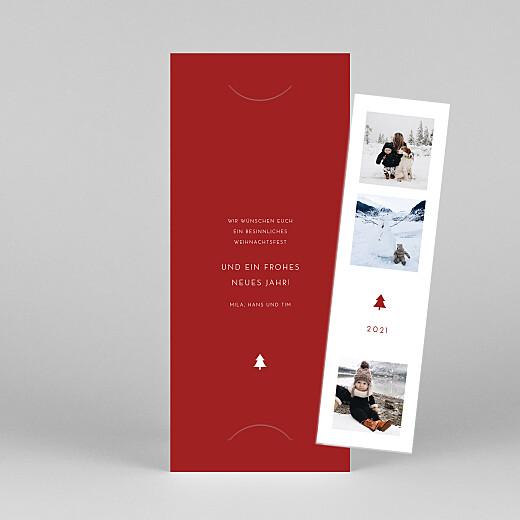 Weihnachtskarten Elegant tannenbaum (duo) rot - Ansicht 1