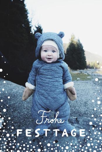 Weihnachtskarten Schneepünktchen 5 fotos blau