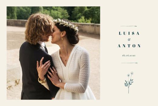 Dankeskarten Hochzeit Floral minimal (klappkarte) beige