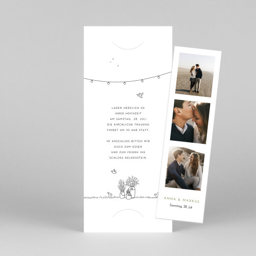 Hochzeitseinladungen Sommerhochzeit (fotostreifen) weiß - Ansicht 1