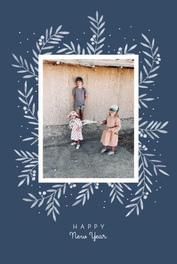 Weihnachtskarten Kleine zweige hoch blau