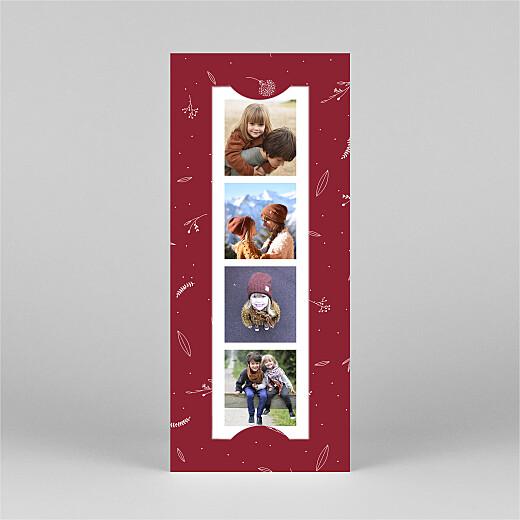 Weihnachtskarten Liebliches blattwerk (fotostreifen) rot - Ansicht 2