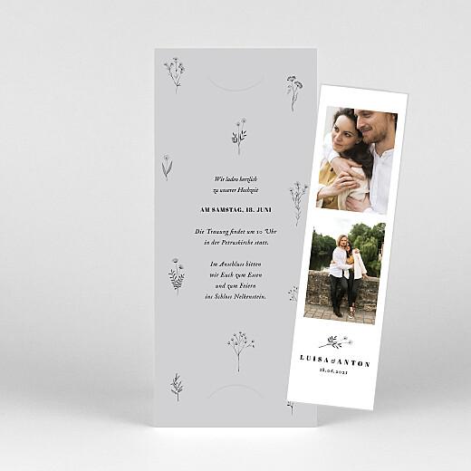 Hochzeitseinladungen Floral minimal (fotostreifen) grau - Ansicht 1