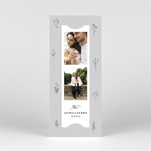 Hochzeitseinladungen Floral minimal (fotostreifen) grau - Ansicht 2