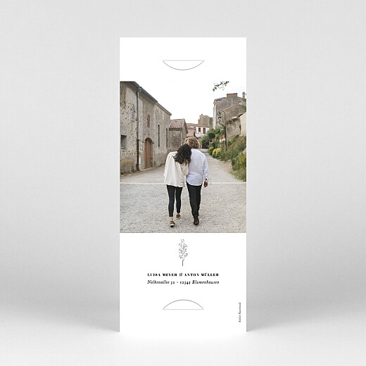 Hochzeitseinladungen Floral minimal (fotostreifen) grau - Ansicht 4