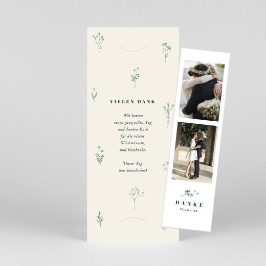 Dankeskarten Hochzeit Floral minimal (fotostreifen) beige - Ansicht 1