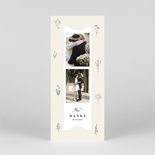 Dankeskarten Hochzeit Floral minimal (fotostreifen) beige - Ansicht 2