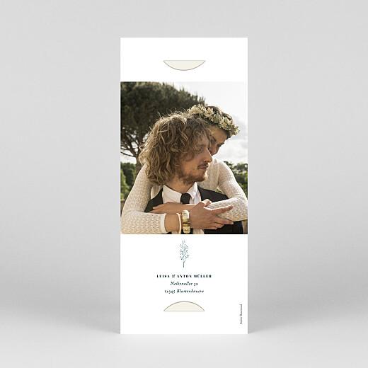 Dankeskarten Hochzeit Floral minimal (fotostreifen) beige - Ansicht 4