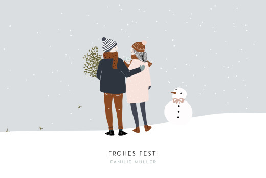 Weihnachtskarten Winter family (1 kind) 1