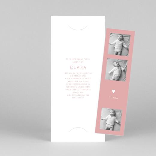 Taufeinladungen Elegant herz (fotostreifen) rosa - Ansicht 1