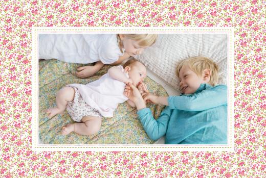 Geburtskarten Lange blumensinfonie rosa