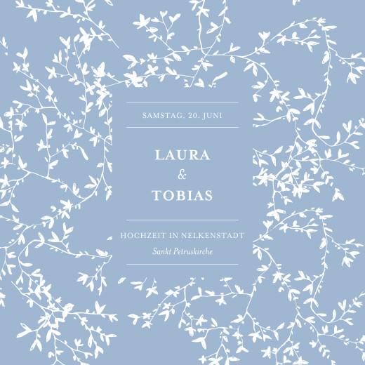 Hochzeitseinladungen Zarte poesie (klappkarte) blau
