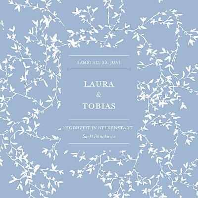 Hochzeitseinladungen Zarte poesie (klappkarte) blau finition