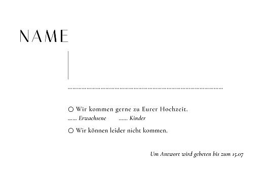 Antwortkarte Hochzeit Ikebana (hoch) weiß - Seite 2