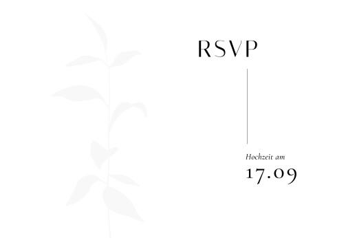 Antwortkarte Hochzeit Ikebana (hoch) weiß