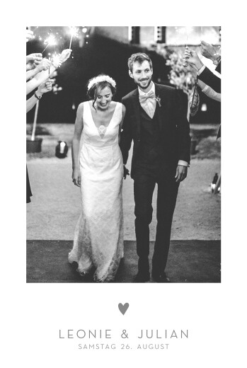 Hochzeitseinladungen Elegant herz hochformat 4 pages weiß