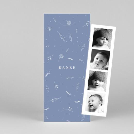 Dankeskarten Liebliches blattwerk (fotostreifen) blau - Ansicht 1