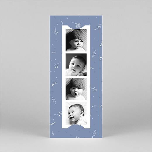 Dankeskarten Liebliches blattwerk (fotostreifen) blau - Ansicht 2
