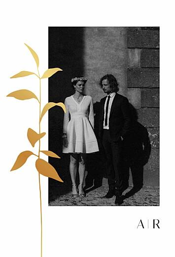 Dankeskarten Hochzeit Ikebana gold (hoch) weiß