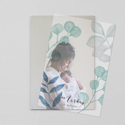 Geburtskarten Im grünen (transparentpapier) blau - Ansicht 1